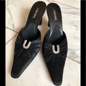J.Renee Black Mules Heels 6M